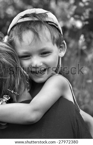 Happiness of the little boy - stock photo