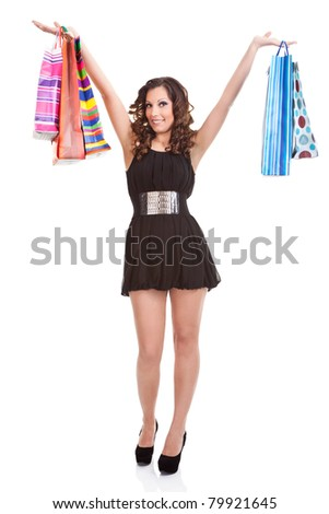 happiness shopping woman with  bags  posing in sexy dress on white background - stock photo