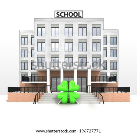 happiness sign in front of modern school building illustration - stock photo