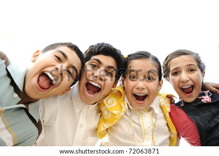 Happiness without limit, happy children together outdoor - stock photo