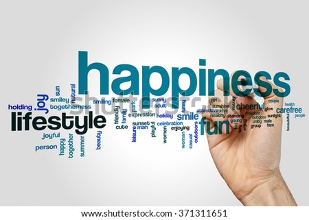 Happiness word cloud - stock photo