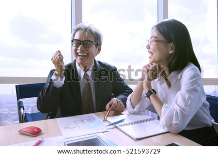 happiness working people in meeting room for successful and good new in business office