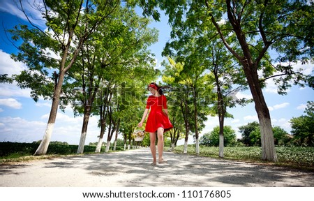 Happiness young girl enjoying in nature