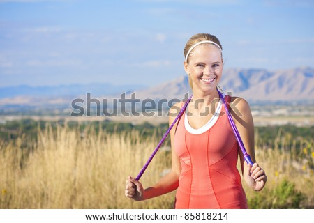 Happy Active Beautiful Fitness Woman - stock photo