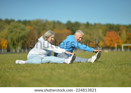 Happy active fit senior couple exercising outdoors - stock photo