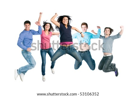 Happy active group of young friends jump together with fun isolated on white background - stock photo