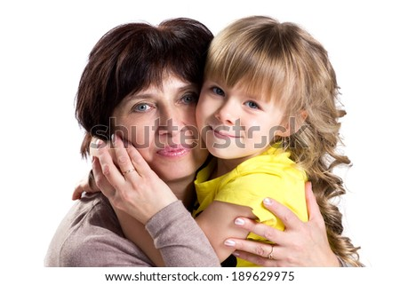 happy affection grandmother and granddaughter  on white background