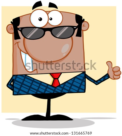 Happy African American Business Man With Sunglasses Showing Thumbs Up. Raster Illustration.Vector Version Also Available In Portfolio. - stock photo