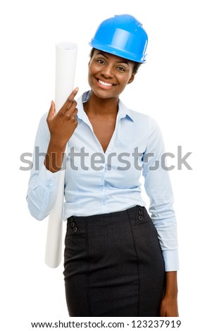 Happy African AMerican business woman architect holding blueprint isolated on white background