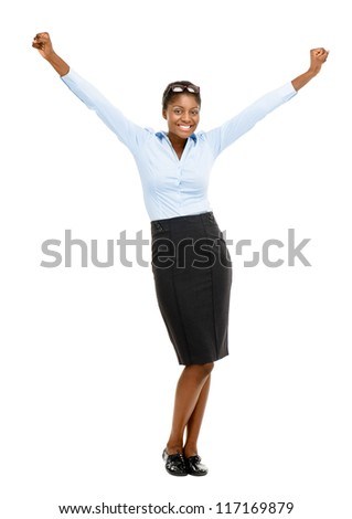 Happy African American business woman celebrating succes isolated on white background - stock photo