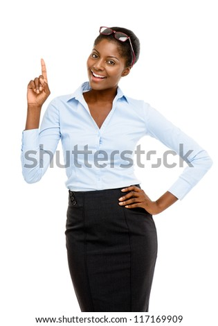 Happy African American business woman isolated on white background