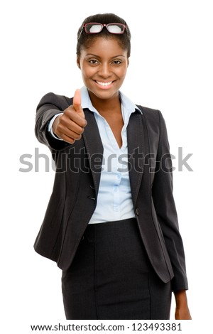 Happy African American business woman thumbs up isolated on white background