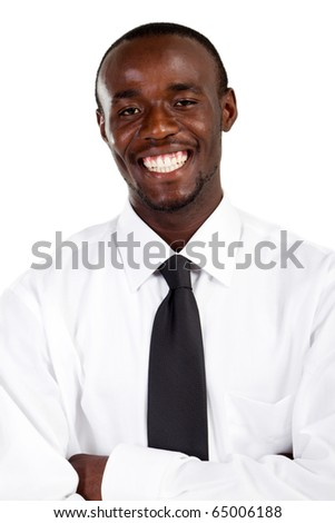 Happy african american businessman on white - stock photo