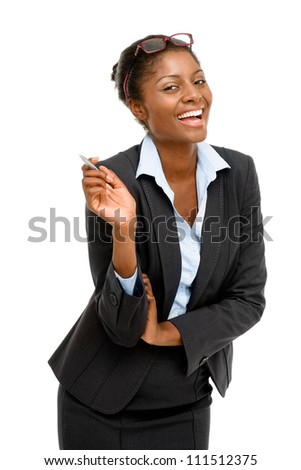 Happy African American businesswoman holding pen white background