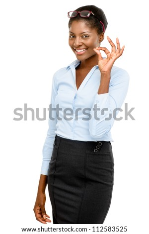Happy African American businesswoman okay sign isolated on white isolated on white background - stock photo