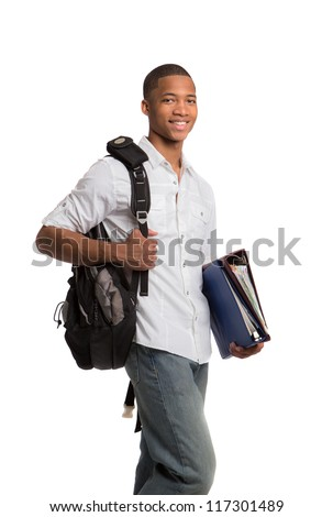 Happy African American College Student Holding Binders on Isolated White Background - stock photo