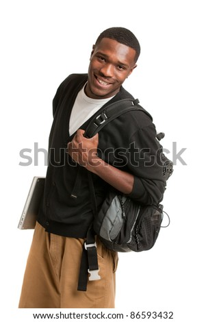 Happy African American College Student Holding Laptop on Isolated White Background - stock photo
