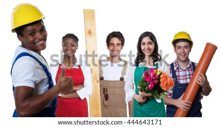 Happy african american construction worker with group of other workers - stock photo