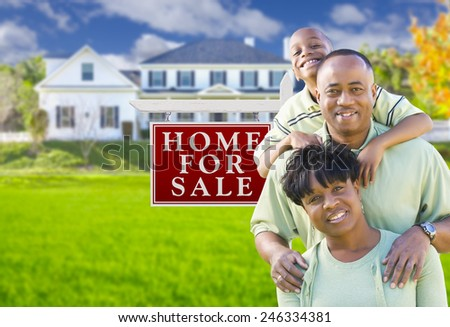Happy African American Family In Front of For Sale Real Estate Sign and House. - stock photo