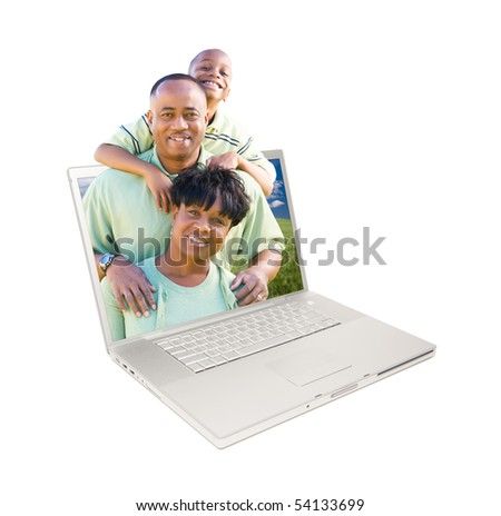 Happy African American Family in Laptop Screen Isolated on White. - stock photo