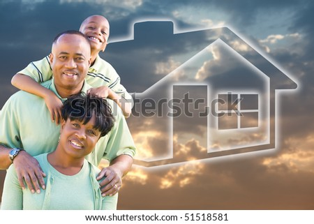Happy African American Family Over Clouds, Sky and House Icon. - stock photo