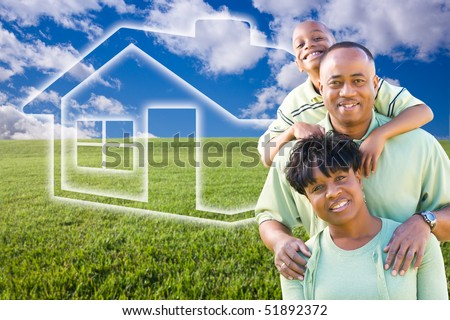 Happy African American Family Over Grass Field, Clouds, Sky and House Icon. - stock photo