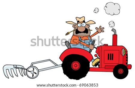 Happy African American Farmer Driving A Red Tractor - stock photo