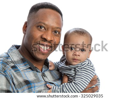 Happy African American Father Holding Baby High Key Portrait Isolated on White Background isolated - stock photo