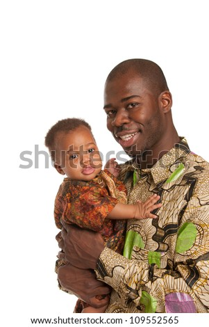 Happy African American Father Holding Baby Wearing Colorful Costume Portrait Isolated on White Background - stock photo