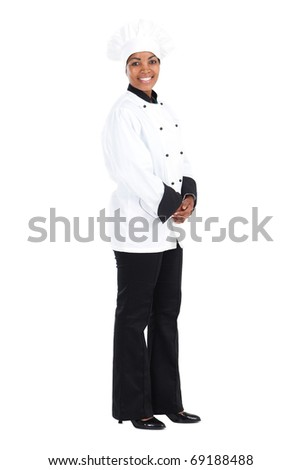 happy african american female chef on white - stock photo