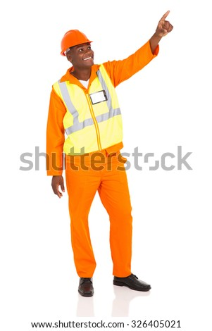 happy african american industrial worker pointing on white background - stock photo