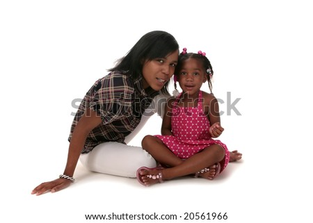 Happy African American Mother and Her Daughter