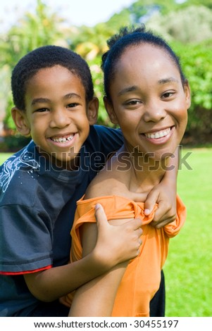 happy african american mother and son - stock photo