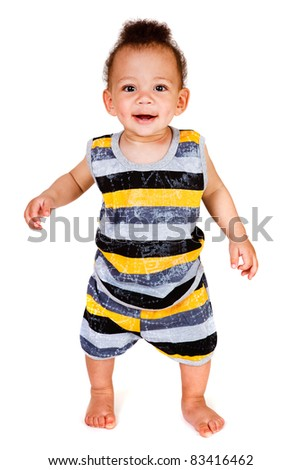 Happy African american toddler looking into camera - stock photo