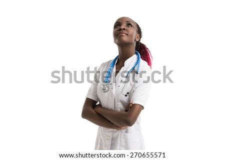 Happy African American trusted Doctor Woman isolated on white background - stock photo