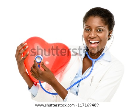 Happy African American trusted Nurse holding Red heart isolated on white background - stock photo