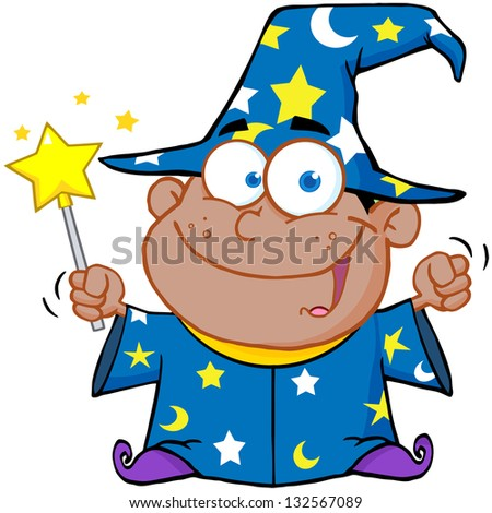 Happy African American Wizard Boy Waving With Magic Wand. Raster Illustration.Vector Version Also Available In Portfolio. - stock photo