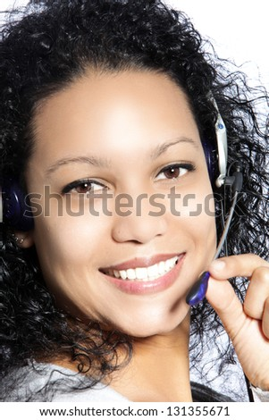Happy African American woman Call Center Agent