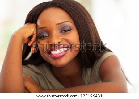 happy african american woman headshot - stock photo