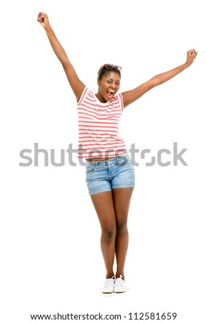 Happy African American woman is successful isolated on white backgound - stock photo