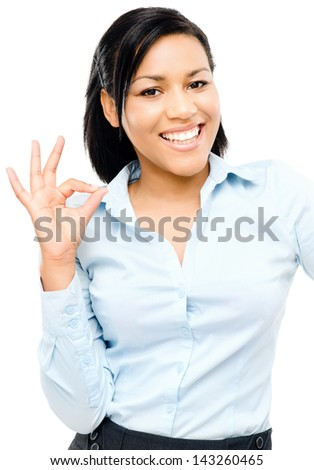 Happy african american woman okay sign white background - stock photo