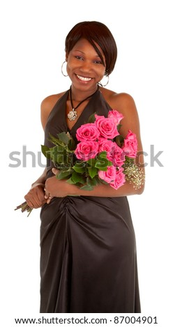 Happy African American Woman  Posing with her Roses - stock photo