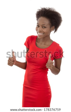 Happy african american woman thumbs up isolated on white. - stock photo