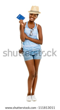 Happy African American Woman tourist holding passport fulll length isolated on white background