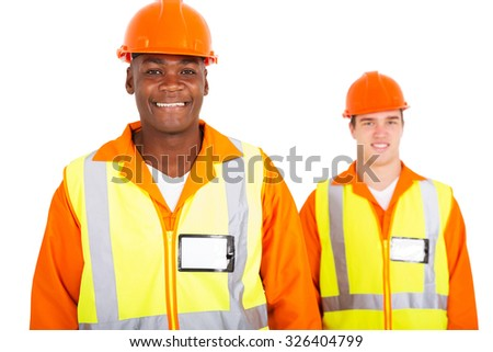 happy african blue collar worker with colleague on background - stock photo
