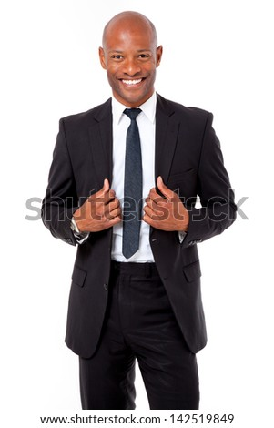 Happy African business man shot on an isolated background - stock photo