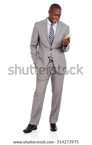 happy african businessman holding cell phone on white background - stock photo