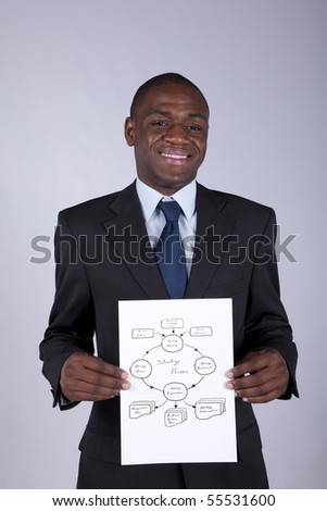 Happy african businessman showing a strategy process diagram - stock photo