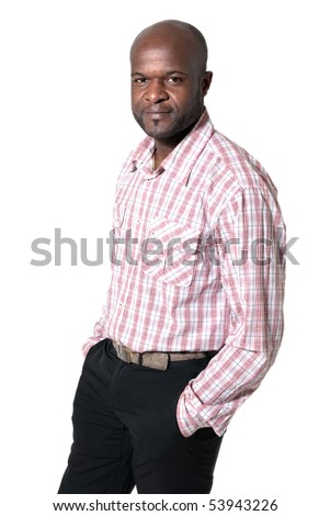Happy african businessman smiling and looking  portrait isolated on white background. - stock photo