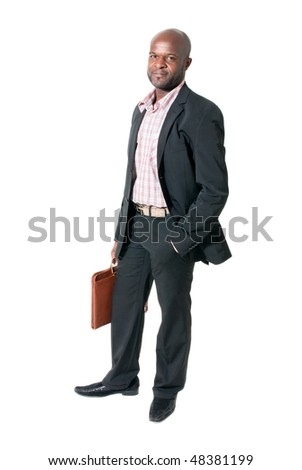 Happy african businessman smiling with briefcase isolated.